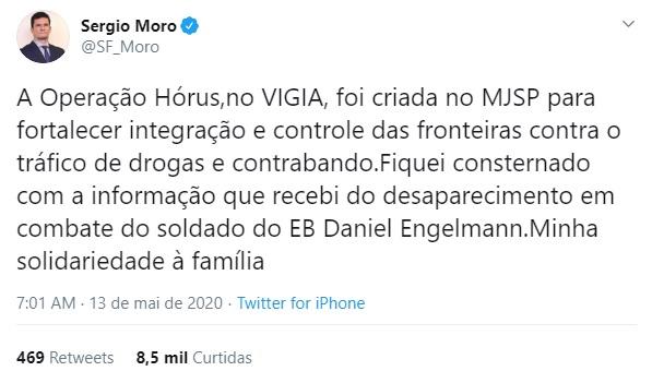 Sérgio Moro manifesta solidariedade à família de soldado desaparecido em Guaíra